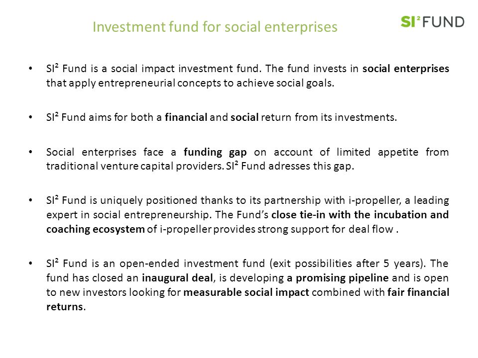 Investment fund for social enterprises