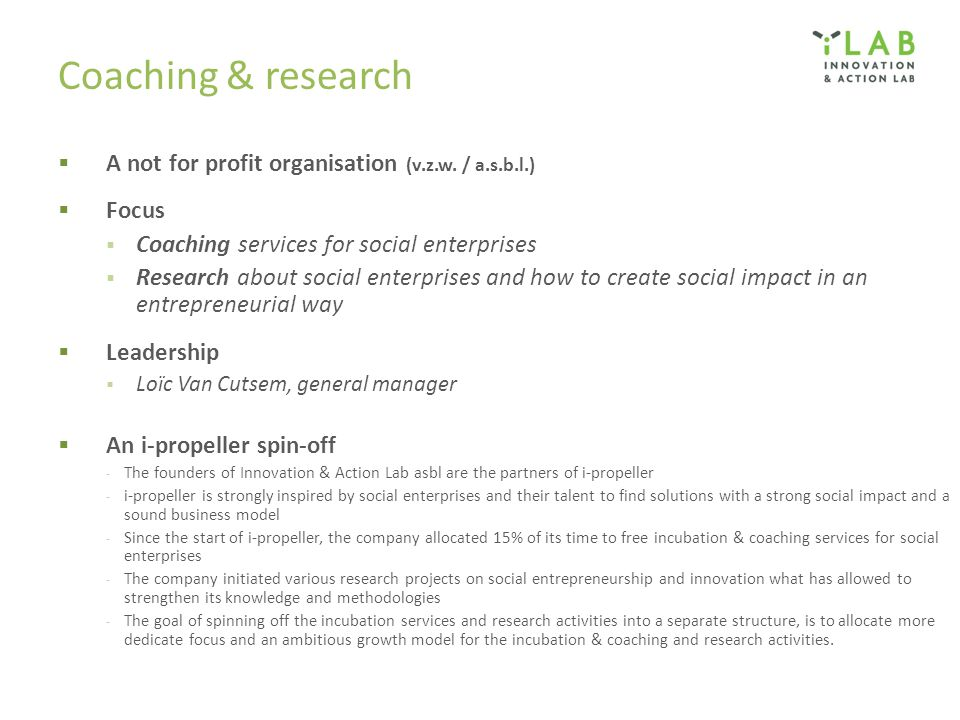 Coaching & research A not for profit organisation (v.z.w. / a.s.b.l.)