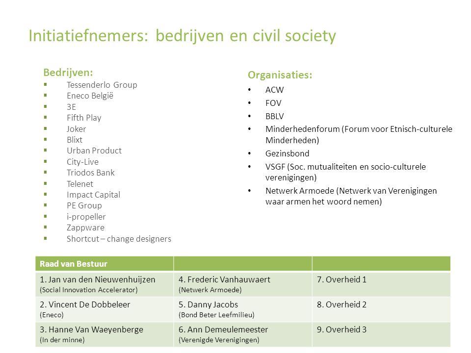 Initiatiefnemers: bedrijven en civil society