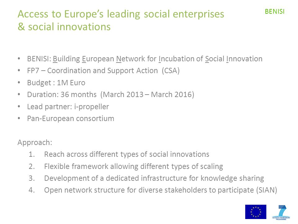 Access to Europe's leading social enterprises & social innovations