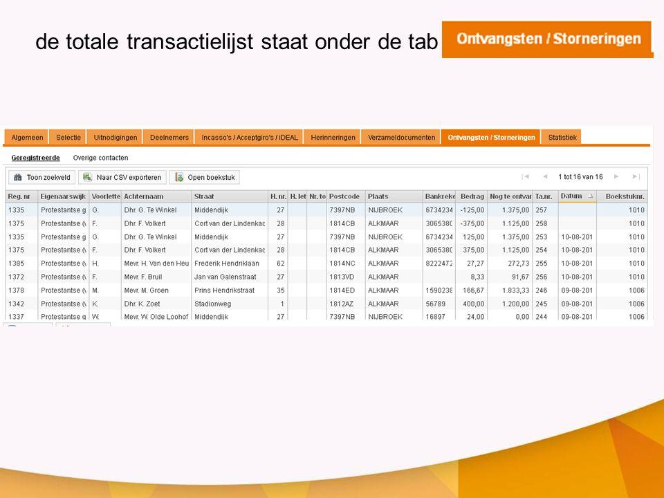 de totale transactielijst staat onder de tab