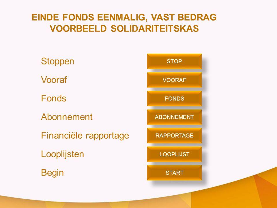 EINDE FONDS EENMALIG, VAST BEDRAG VOORBEELD SOLIDARITEITSKAS
