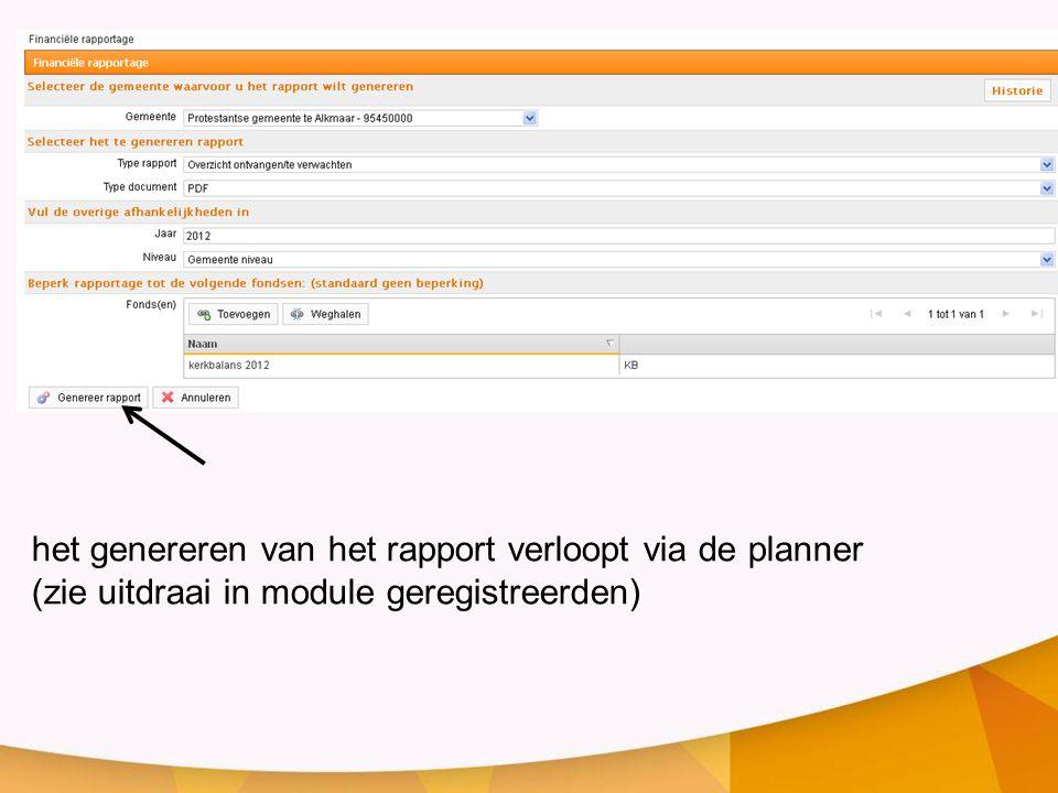 het genereren van het rapport verloopt via de planner