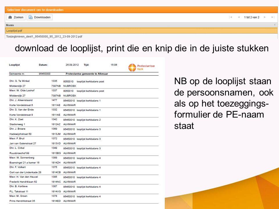 download de looplijst, print die en knip die in de juiste stukken