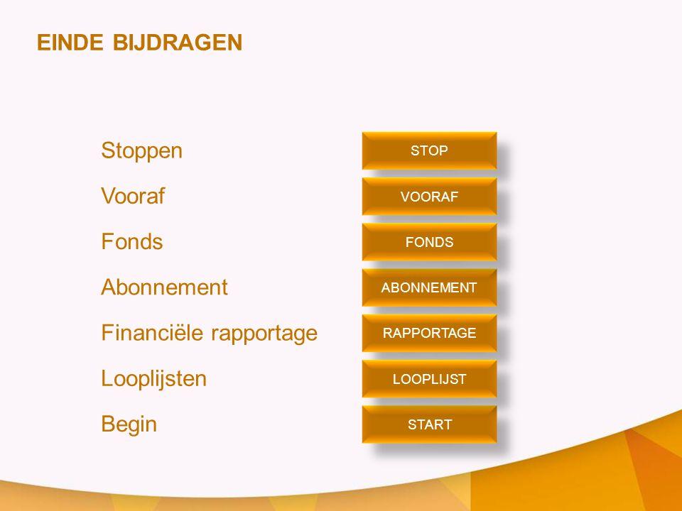 Financiële rapportage Looplijsten Begin