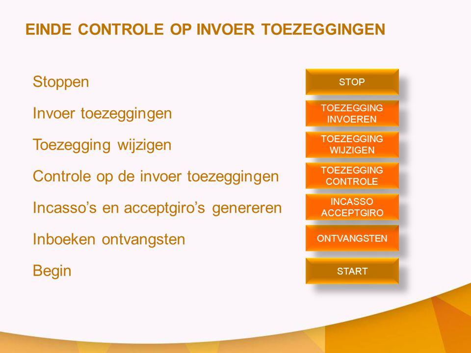 EINDE CONTROLE OP INVOER TOEZEGGINGEN Stoppen Invoer toezeggingen