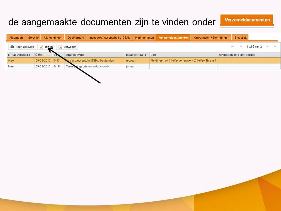 de aangemaakte documenten zijn te vinden onder