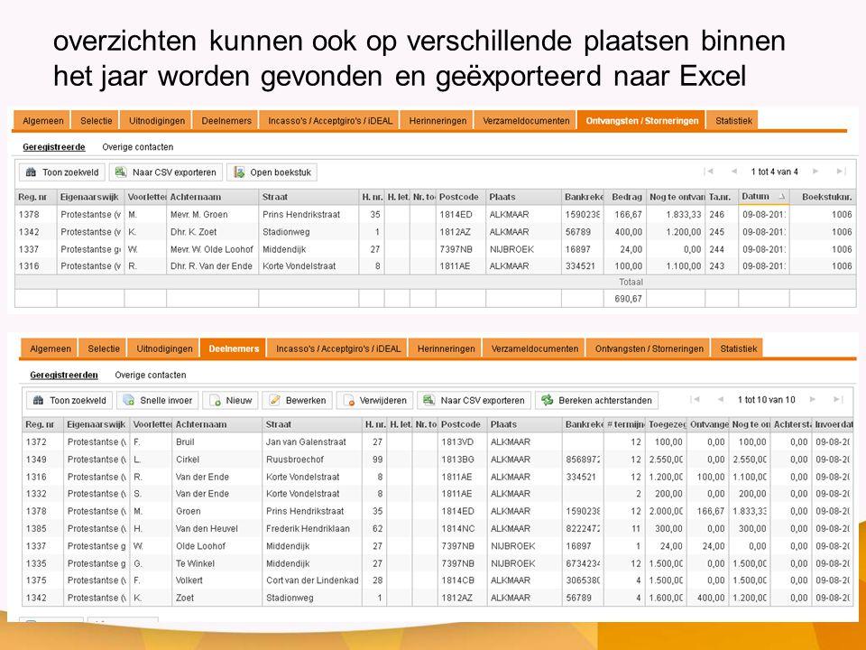 overzichten kunnen ook op verschillende plaatsen binnen het jaar worden gevonden en geëxporteerd naar Excel
