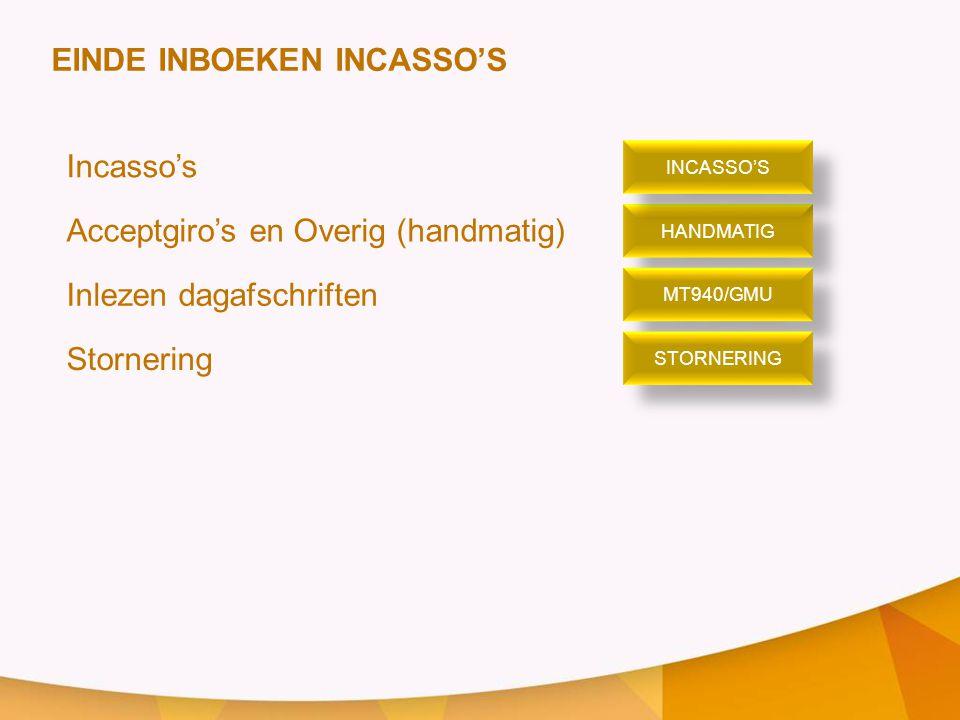 EINDE INBOEKEN INCASSO'S Incasso's Acceptgiro's en Overig (handmatig)