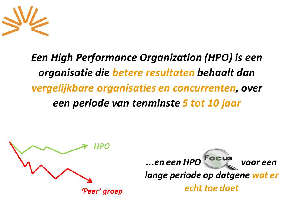 Een High Performance Organization (HPO) is een organisatie die betere resultaten behaalt dan vergelijkbare organisaties en concurrenten, over een periode van tenminste 5 tot 10 jaar