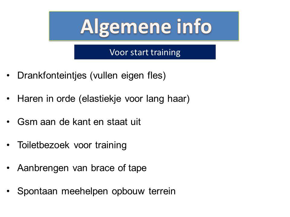 Algemene info Voor start training Drankfonteintjes (vullen eigen fles)