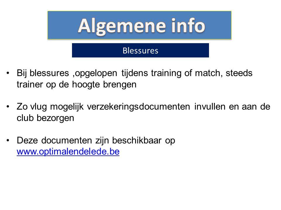 Algemene info Blessures