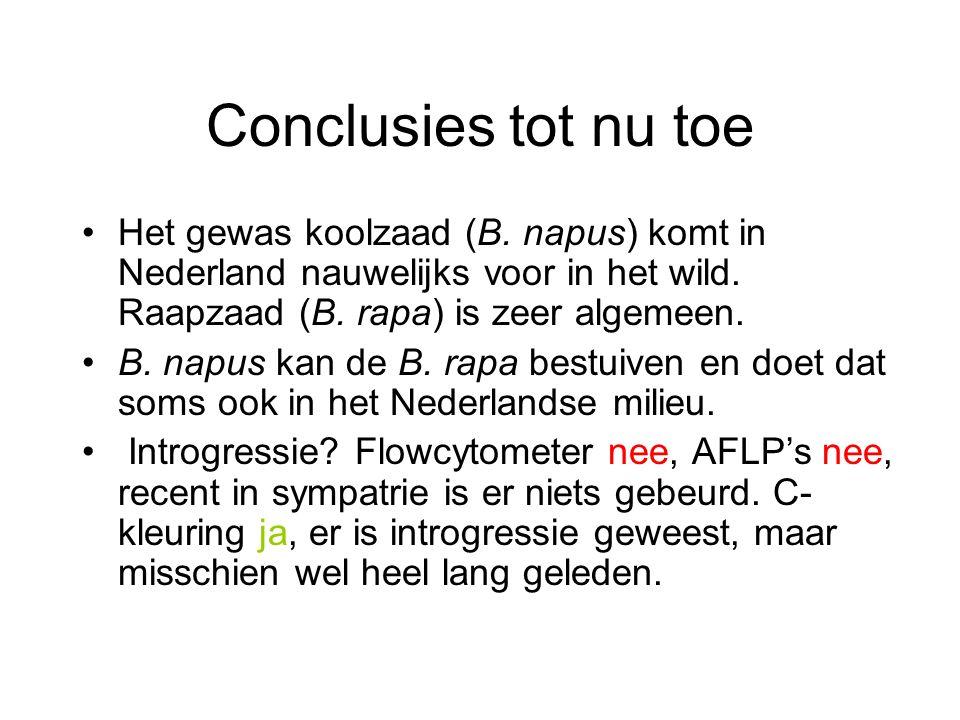 Conclusies tot nu toe Het gewas koolzaad (B. napus) komt in Nederland nauwelijks voor in het wild. Raapzaad (B. rapa) is zeer algemeen.