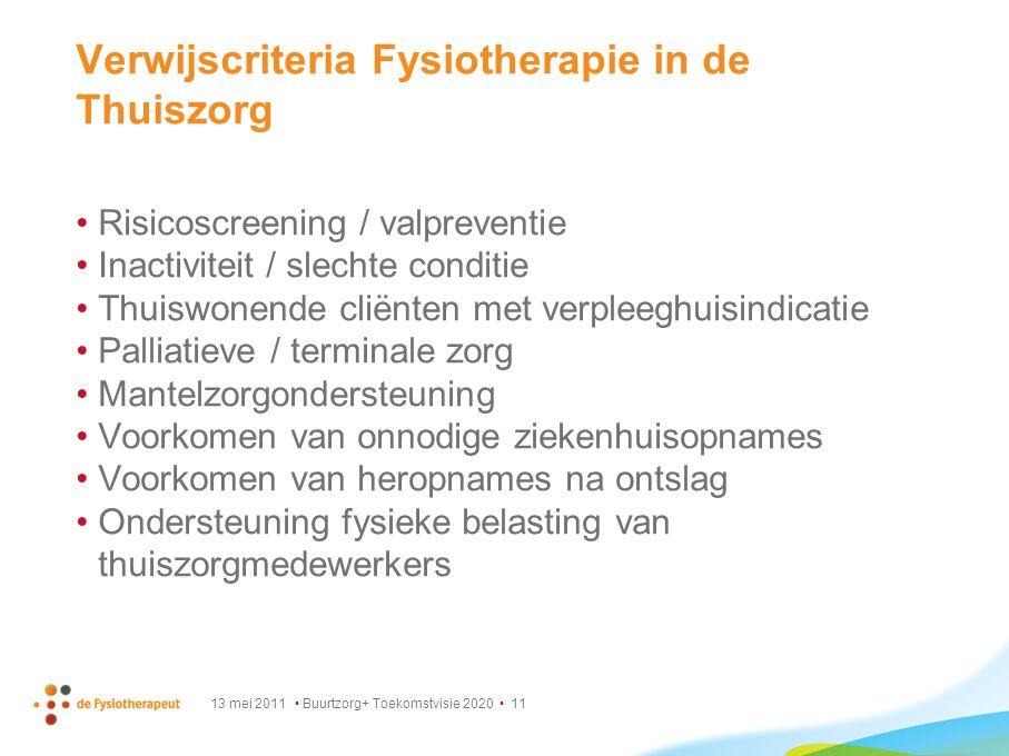 Verwijscriteria Fysiotherapie in de Thuiszorg
