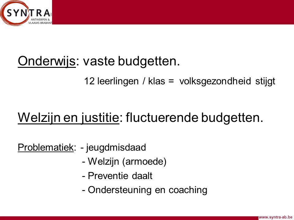 Onderwijs: vaste budgetten.