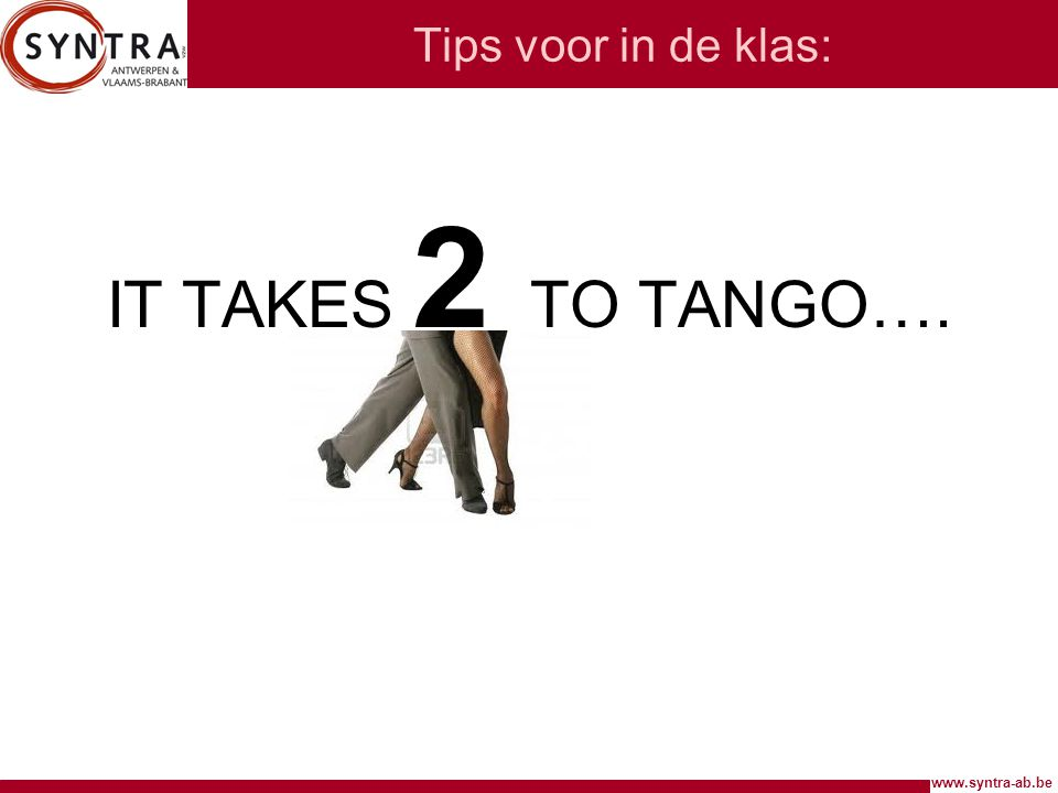 Tips voor in de klas: IT TAKES 2 TO TANGO….