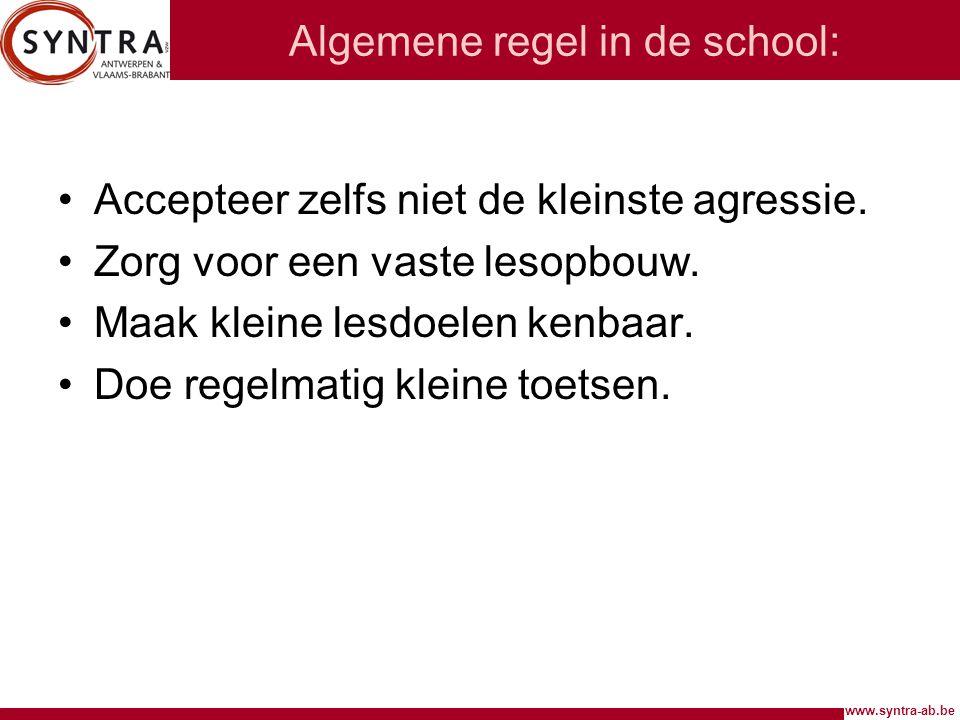 Algemene regel in de school: