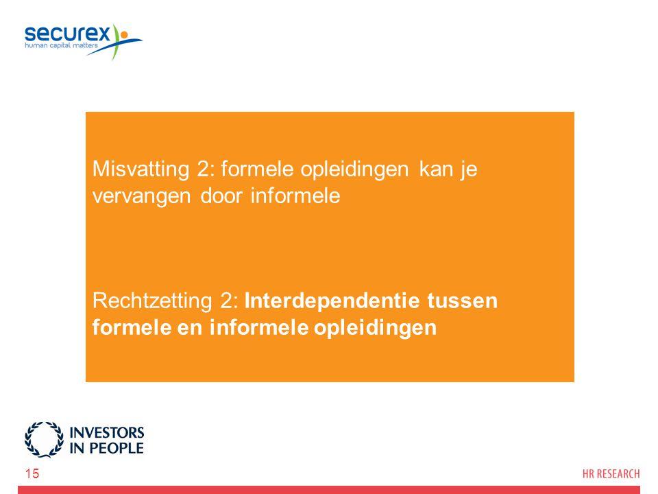 Misvatting 2: formele opleidingen kan je vervangen door informele Rechtzetting 2: Interdependentie tussen formele en informele opleidingen