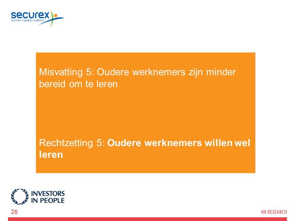 Misvatting 5: Oudere werknemers zijn minder bereid om te leren Rechtzetting 5: Oudere werknemers willen wel leren