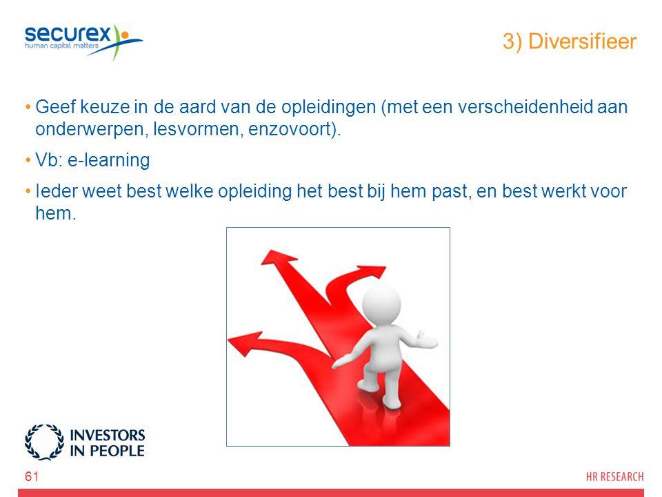 3) Diversifieer Geef keuze in de aard van de opleidingen (met een verscheidenheid aan onderwerpen, lesvormen, enzovoort).
