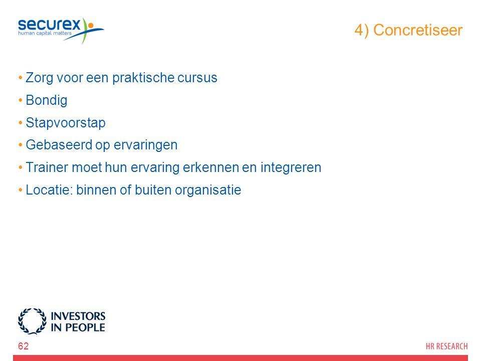 4) Concretiseer Zorg voor een praktische cursus Bondig Stapvoorstap