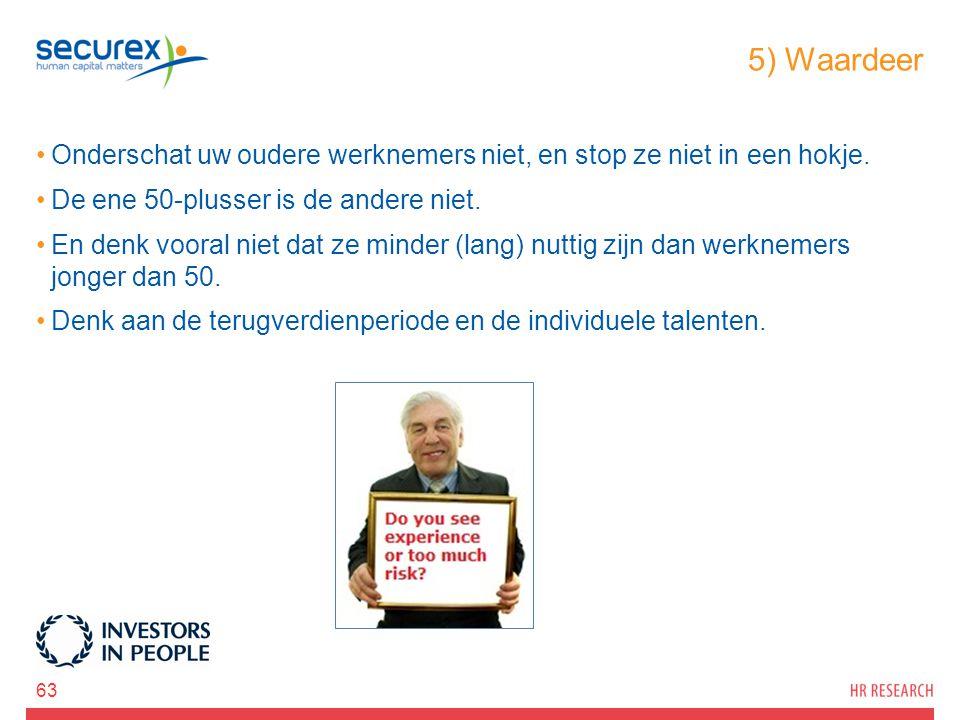 5) Waardeer Onderschat uw oudere werknemers niet, en stop ze niet in een hokje. De ene 50-plusser is de andere niet.