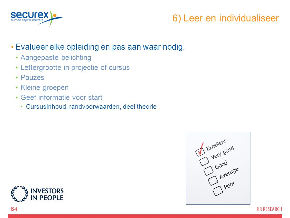 6) Leer en individualiseer