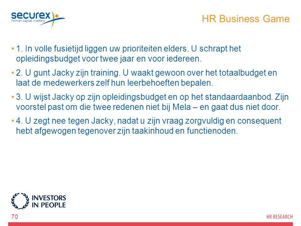 HR Business Game 1. In volle fusietijd liggen uw prioriteiten elders. U schrapt het opleidingsbudget voor twee jaar en voor iedereen.