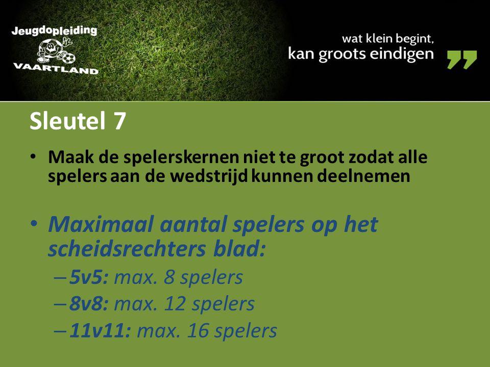 Sleutel 7 Maximaal aantal spelers op het scheidsrechters blad: