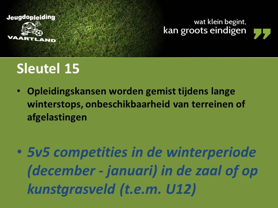 Sleutel 15 Opleidingskansen worden gemist tijdens lange winterstops, onbeschikbaarheid van terreinen of afgelastingen.
