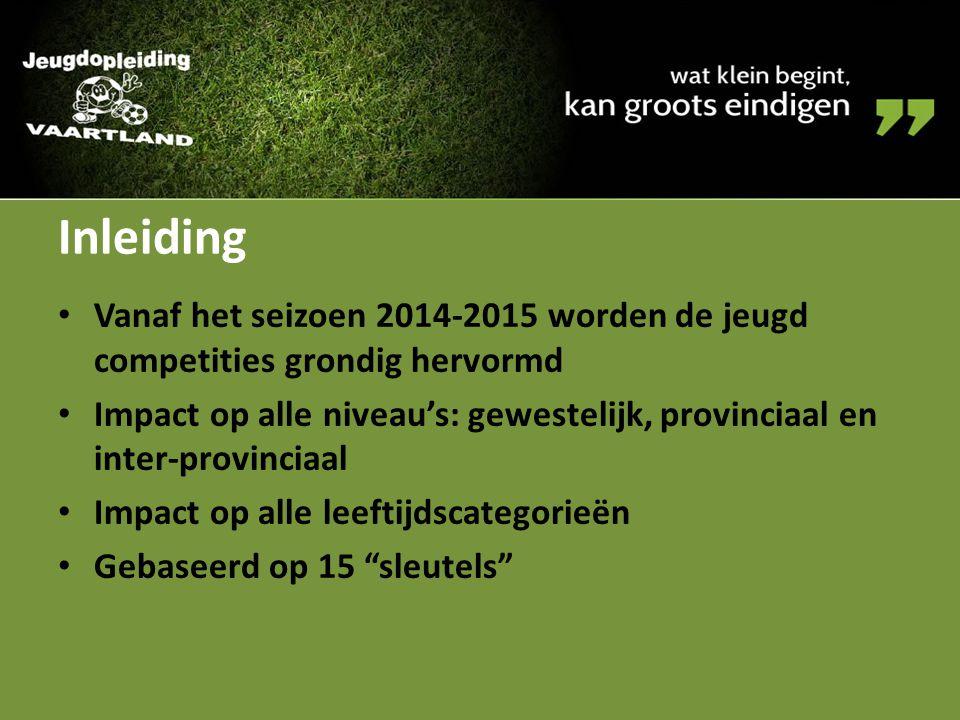 Inleiding Vanaf het seizoen 2014-2015 worden de jeugd competities grondig hervormd.