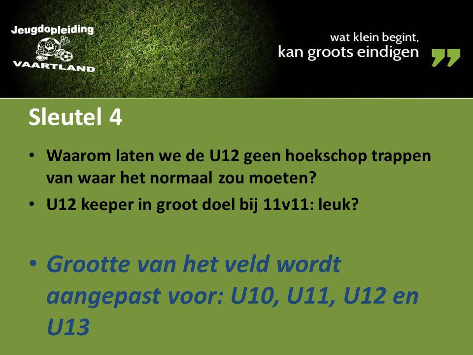 Grootte van het veld wordt aangepast voor: U10, U11, U12 en U13