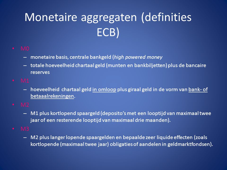 Monetaire aggregaten (definities ECB)