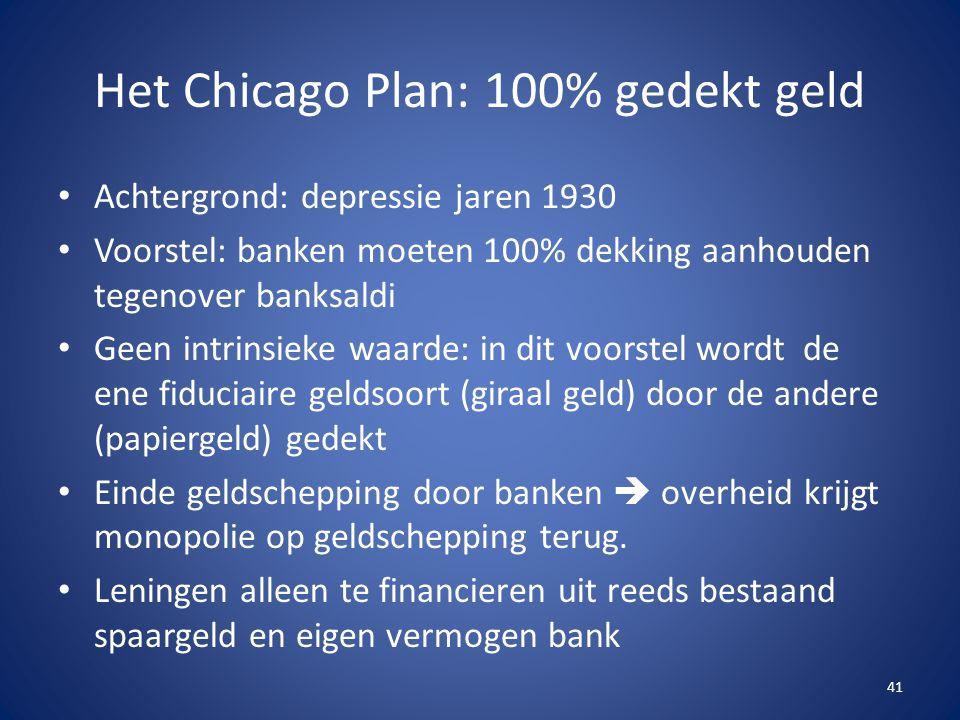 Het Chicago Plan: 100% gedekt geld