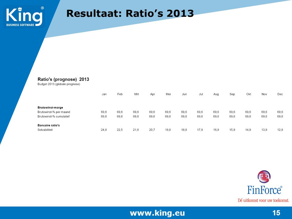 Resultaat: Ratio's 2013 www.king.eu
