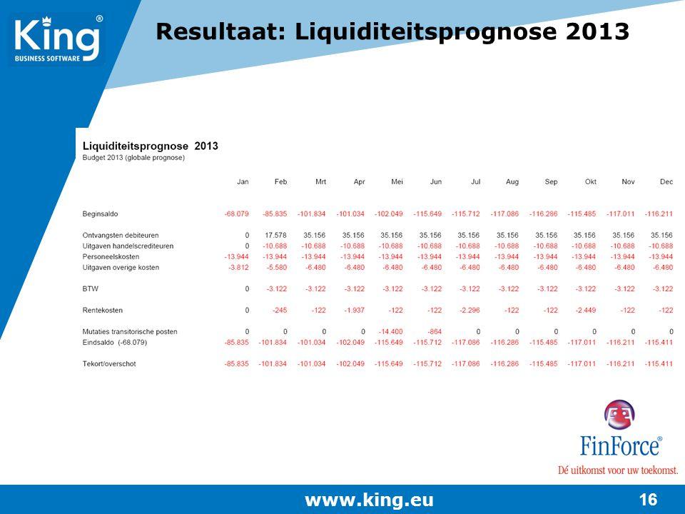 Resultaat: Liquiditeitsprognose 2013
