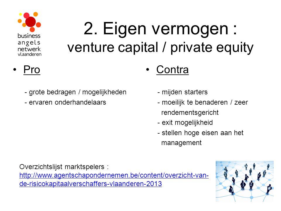 2. Eigen vermogen : venture capital / private equity