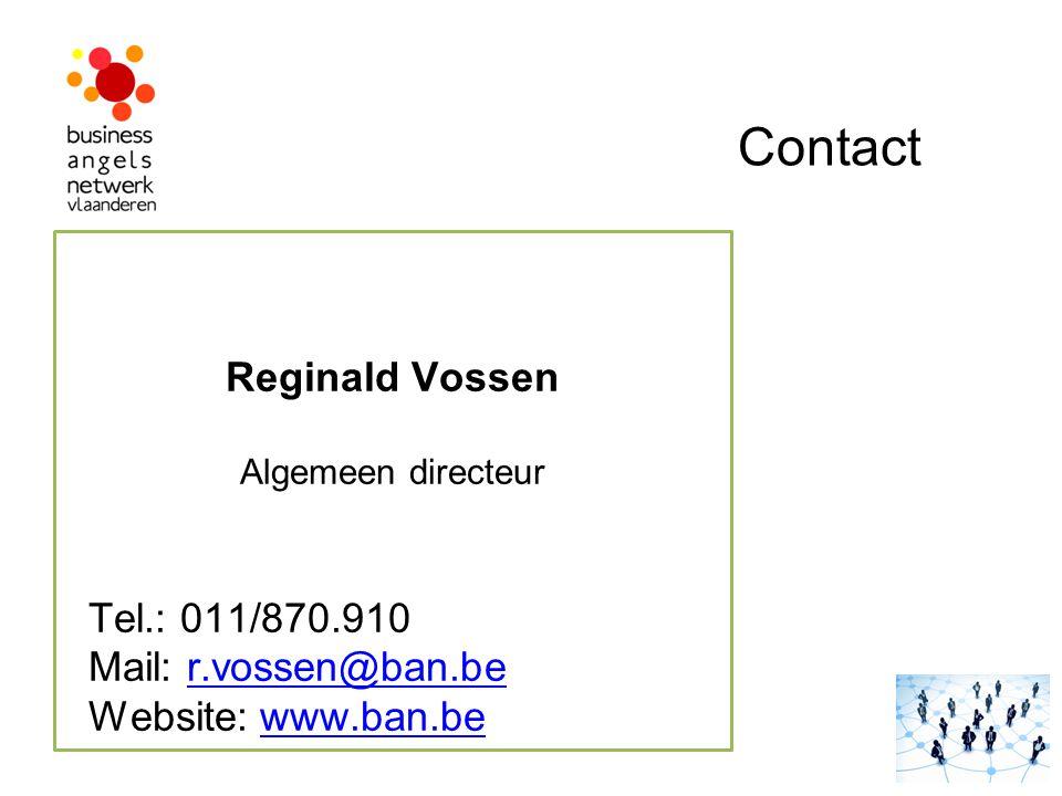 Contact Reginald Vossen Tel.: 011/870.910 Mail: r.vossen@ban.be