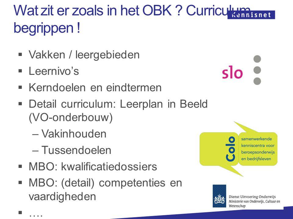 Wat zit er zoals in het OBK Curriculum begrippen !