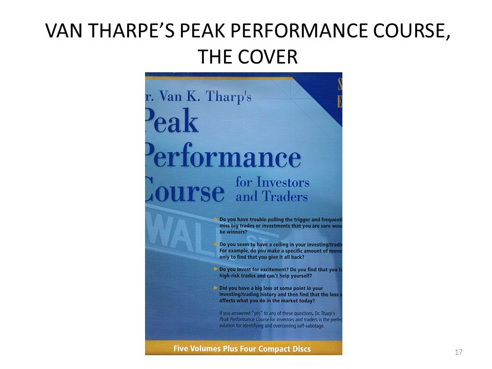 VAN THARPE'S PEAK PERFORMANCE COURSE, THE COVER