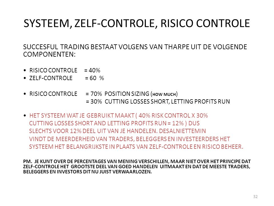 SYSTEEM, ZELF-CONTROLE, RISICO CONTROLE