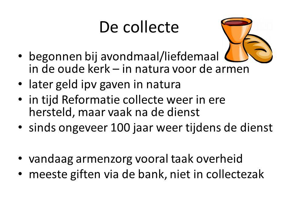 De collecte begonnen bij avondmaal/liefdemaal in de oude kerk – in natura voor de armen.