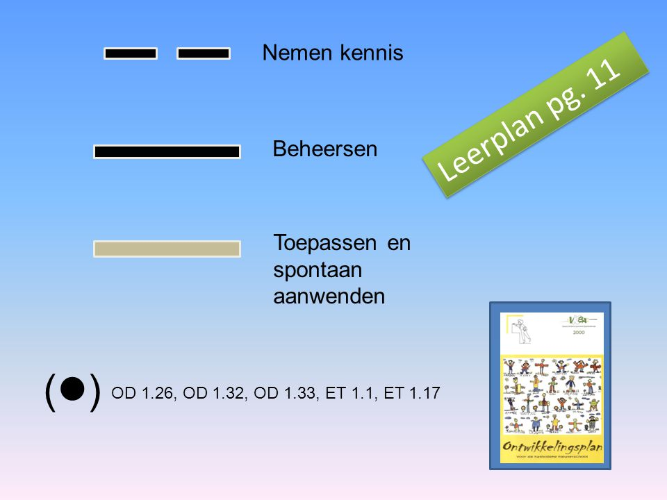 () Leerplan pg. 11 Nemen kennis Beheersen