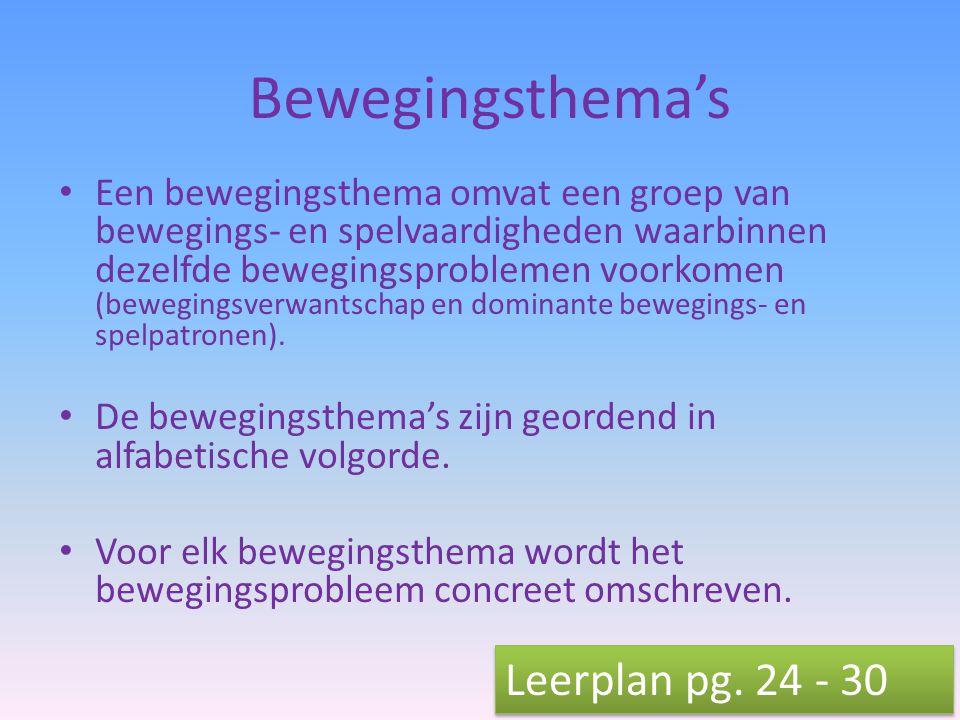 Bewegingsthema's Leerplan pg. 24 - 30