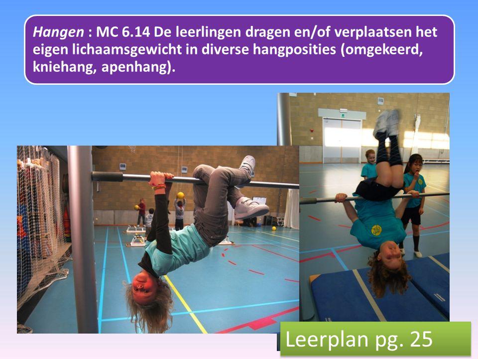 Hangen : MC 6.14 De leerlingen dragen en/of verplaatsen het eigen lichaamsgewicht in diverse hangposities (omgekeerd, kniehang, apenhang).