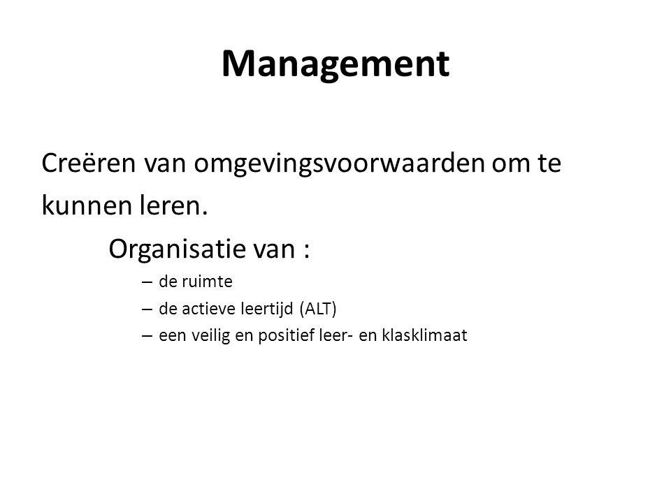 Management Creëren van omgevingsvoorwaarden om te kunnen leren.