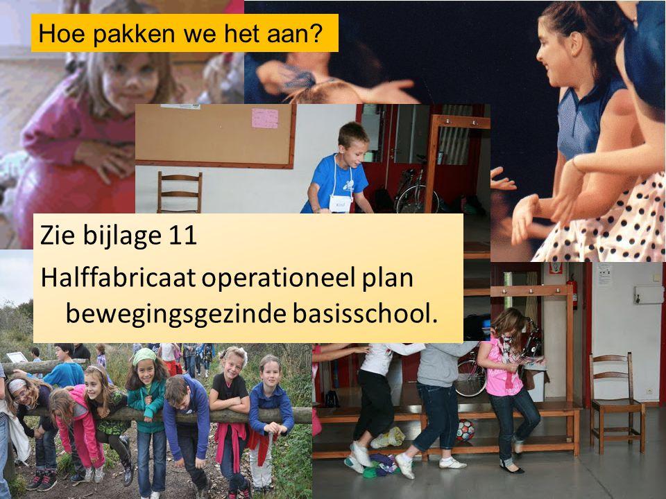Hoe pakken we het aan Zie bijlage 11 Halffabricaat operationeel plan bewegingsgezinde basisschool.