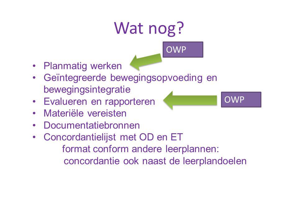 Wat nog OWP Planmatig werken