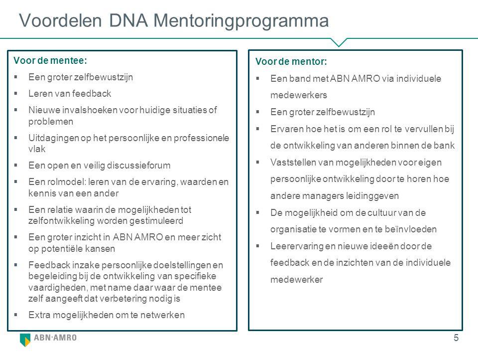 Voordelen DNA Mentoringprogramma