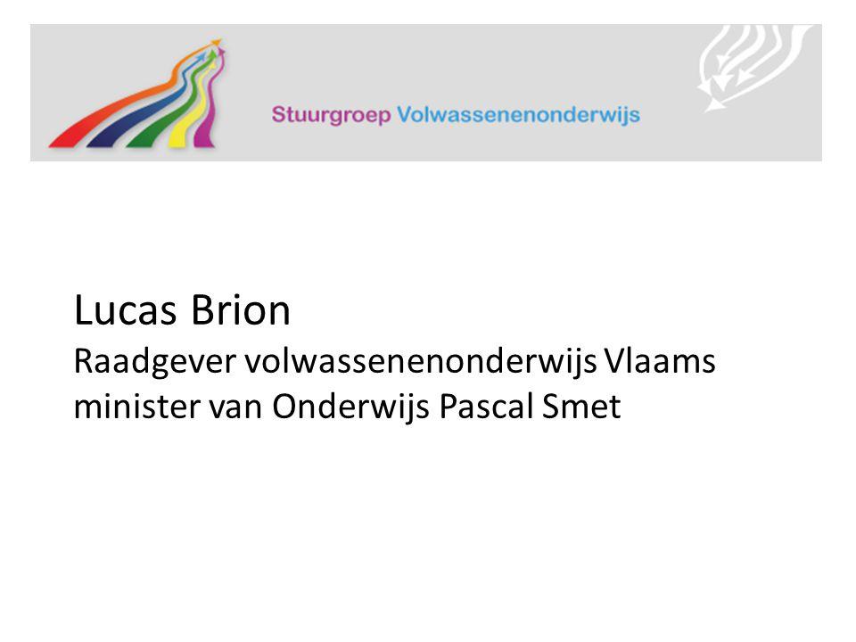 Lucas Brion Raadgever volwassenenonderwijs Vlaams minister van Onderwijs Pascal Smet
